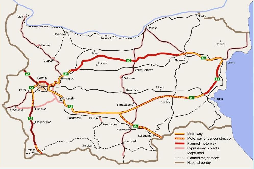 Carte autoroutière de la Bulgarie